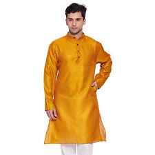 Men Full Sleeve Designer Faux Silk Long Kurta Casual Festive Wear  Plain  0279