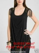GUESS by Marciano Silk Tunic Embellished Blouse Beaded Shouder Black Size M