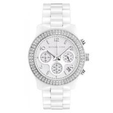 New In Box Michael Kors MK5188 38mm Runway White Ceramic Chrono Women's Watch