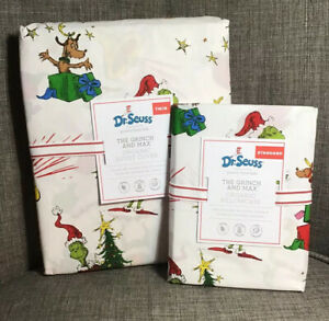 Pottery Barn Kids Dr. Seuss's The Grinch And Max Duvet Cover Twin + Pillowcase