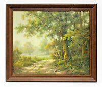 Country Road Landscape 20 x 24 Art Oil Painting on Canvas w/ Carved Wooden Frame