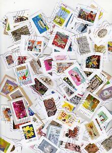 Lot 400 timbres autoadh��sifs différents sur fragments Maj 2017-2020