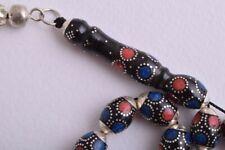 Black Coral Prayer Beads-Islamic Tasbih-Worry Beads-,Silver-komboloi-Egyptian