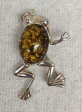 Vintage Sterling Silver & Baltic Amber Frog Jelly Belly Brooch