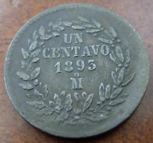 Mexico 1893/2 Mo Copper 1 Centavo Circulated Mexico City Mint