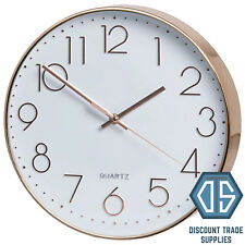 Retro Rose Gold Round Wall Clock Copper Effect Quartz Contemporary Style 30cm