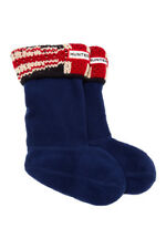 Hunter Kids Original Brit Cuff Welly Navy Socks 0235 Size XS Kids 11-13