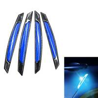 4pcs Car Door Edge Reflective Strip Anti-collision Safety Warning Stickers Blue~