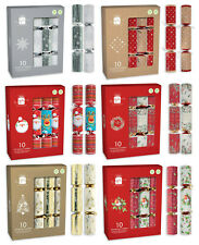 Traditional Christmas Crackers Set Box of 10 x28cm Plastic Free Gift Hat Snapper