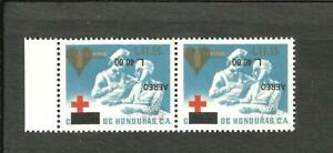 HONDURAS RED CROSS MICHEL 1792 PAIR INVERTED OVERPRINT MNH VF
