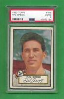 1952 Topps #318 Hal Gregg *** STRONG PSA Good 2 ** New York Giants baseball card