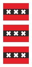 3x Amsterdam Flag Stickers for Bumper Helmet Laptop Hard Hat Tablet Locker Door