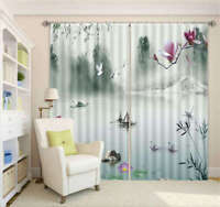 Lotus On Ink Painting 3D Curtain Blockout Photo Printing Curtains Drape Fabric