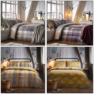 COLVILLE CHECK Tartan Hedgehog Reversible 100% Brushed Cotton Duvet Cover Set
