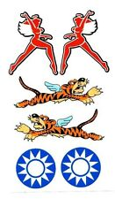 Flying Winged Tiger decal sticker set, WWII Military Airplane nose art
