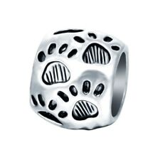 New Silver Puppy Dog Footprint Charm Round Paw Bead for European Charm Bracelets