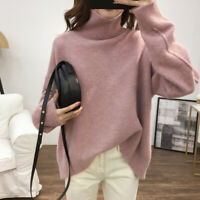 Turtleneck Casual Womens Cashmere Sweater Loose Back Slit Warm Pullover Tops New