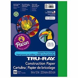 "Tru-Ray Construction Paper, 9"" x 12"", 50 Sheets-Festive Green"