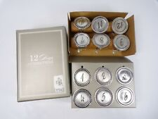 Pottery Barn Twelve Days Silver Disk Napkin Rings Set of 12 #6390