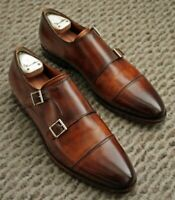 Men's Handmade Genuine Leather brown Double Monk Strap Leather  Shoes
