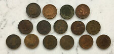 ANTIQUE GROUP LOT OF 15 INDIAN HEAD PENNY PENNIES UNSORTED COINS 1886 - 1907