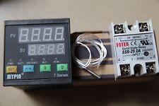 Dual F/C 72WX72HX80L PID Temperature Controller TA7-SNR + PT100 Sensor + 25A SSR