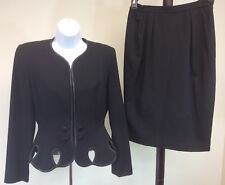 Women's Rimini Vintage Black Suit Skirt Jacket Size 4 Black Lined