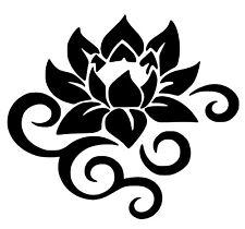 Lotus Flower With Swirls Buddha Yoga Removable Vinyl Wall Art Decal Sticker