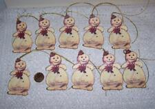 Christmas~Vintage~Snowman~Glitter~Die Cut~Linen Cardstock~Gift~Hang~Tags