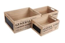 Shabby Chic Vintage General Store Set Of 3 Wooden Chalkboard Crates Storage Box