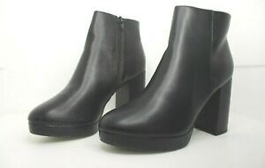 """Chelsea Style Ankle block heel 4"""" high boots Shoes Black Leather brand new"""