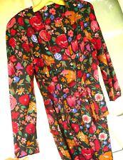 Vtg 80S M Red Rust Floral Spring Garden Peplum Secretary Hourglass Dress Women