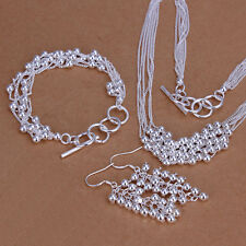 Elegant 925 Stamped Silver SF layer ball Necklace/Earrings/Bracelet Set S448