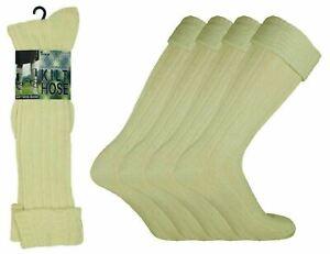 1-12 Pairs Mens Long Hose Wool Scottish Kilt Socks Ecru Cream Sock Lot Size 6-11