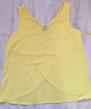 Womens Clothes Papaya Size 12 Sleeveless Yellow Blouse Office Summer Top