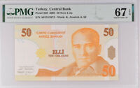 Turkey 50 New Lira 2005 P 220 Superb GEM UNC PMG 67 EPQ Top Pop