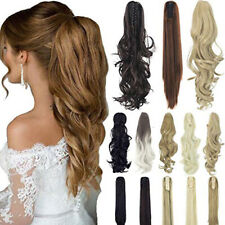 NEW Curly Straight Clip in Ponytail Hair Extension Synthetic Hairpiece Claw Clip