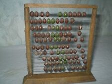 Rare Antique Arts Primitive  Wooden Abacus  Brown Origina Wood & Metal RECKONING
