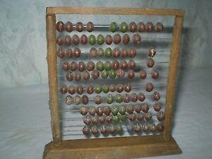 Rare Antique Arts Primitive  Wooden Abacus  Brown Origina Wood & Metal RECKONING