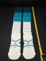 MIAMI DOLPHINS TEAM ISSUED NIKE WHITE/AQUA/NAVY FOOTBALL GAME SOCKS SIZE XL-T