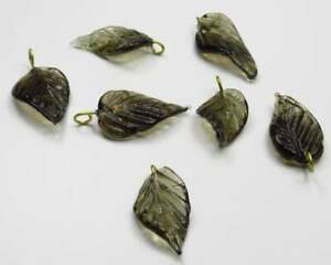 12 Dark Gray Glass Leaf Charms Beads Leaves with Brass Loops 24mm X 14mm