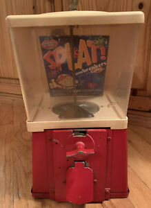 Vintage Gumball Candy Machine Pennies Work with Key Metal Base Working Red