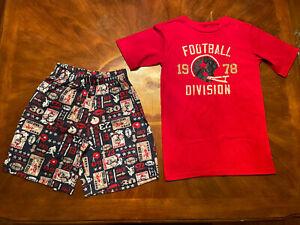 Cherokee Boys Size L 12/14 Red Football Pajamas