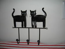 Metal Black Cats Silhouette Bead-Decorated Folk Art Wall Plaque with 3 Hooks