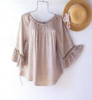 New~Tan Crochet Lace Peasant Blouse Shirt Smocked Ruffle Boho Top~Size XL