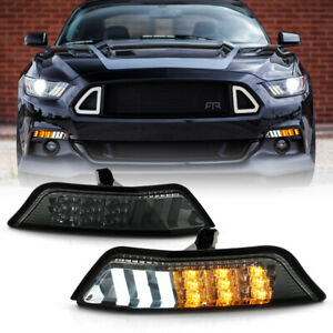 2PC LED SMOKE Sequential Bumper Signal Light Parking Lamp For 15-17 Ford Mustang