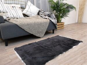 100% Genuine Real Rabbit Fur Carpet Patchwork Bath Floor Mat Rug Living Room