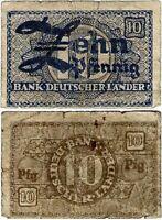 Banknote Bank deutscher Länder 10 Pfennig 1948  WBZ-12a Ro.250 P-12a SEHR SELTEN