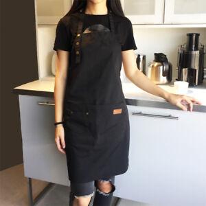 Femme Hommes Toile Travail Tablier Cuisinière Catering Chef Waiter Barista Grand