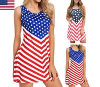 Summer Women's July 4th American Flag Printed Sleeveless Tank Casual Mini Dress